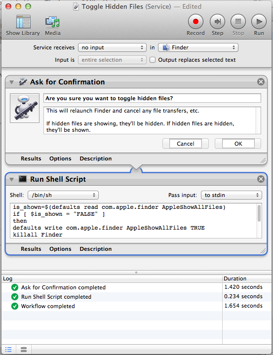 Use Automator to automate the showing and hiding of system files on Mac OSX